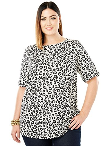 London Leopard - Jessica London Women's Plus Size Boatneck Tee Ivory Leopard,14/16