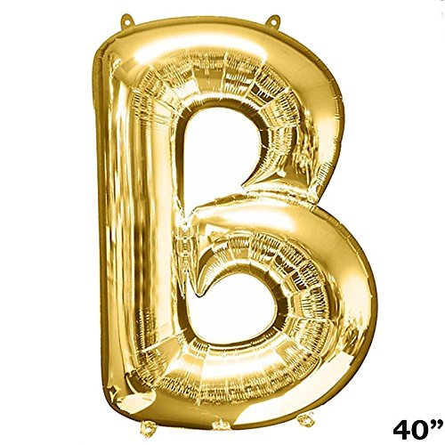 (BalsaCircle Gold Letter B 40-Inch Tall Mylar Foil Balloon - Wedding Event Birthday Graduation Party Decorations Supplies)