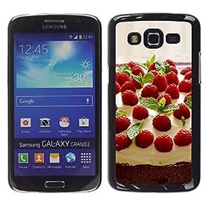 TopCaseStore / la caja del caucho duro de la cubierta de protección de la piel - Fruit Macro Raspberry Cake - Samsung Galaxy Grand 2 SM-G7102 SM-G7105