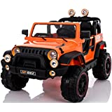 Electric 2 Seater for Kids - Ride On Car - 12V Battery Powered Ride On Cars - With Remote Control Car - Battery Operated Ride On Toy For Kids – Off-road Truck MP3 Radio Orange Colored