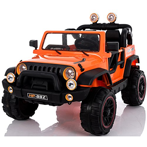 Electric 2 Seater for Kids - Ride On Car - 12V Battery Powered Ride On Cars - With Remote Control Car - Battery Operated Ride On Toy For Kids – Off-road Truck MP3 Radio Orange Colored (12 Powered Battery Volt Cars Kids)