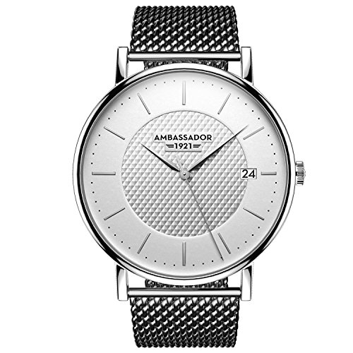 Ambassador Luxury Watch for Men - Heritage 1921 Silver Case with Silver Mesh Strap with Swiss Quality by Ambassador