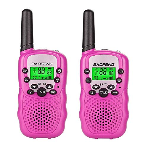 Baofeng T3 Kids Walkie Talkies,Mini Two Way Radios for Boys Girls Children gift,UHF 462-467MHz Frquency 22 Channels(2pcs Pink )