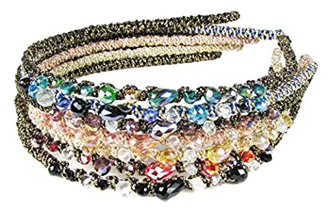 HipGirl Girls / Women Grosgrain Ribbon or Satin Fabric Wrapped Headbands (7pc Girls / Women Bejeweled Headbands)