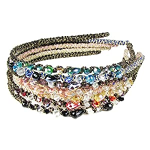 Hair Bands for Women's Hair Style, Headbands for Teen Girls-HipGirl Glitter Sparkle Headbands for Women. Fashion Headbands for Women, Girls Headbands (7pc Bejeweled Rhinestone Headband)