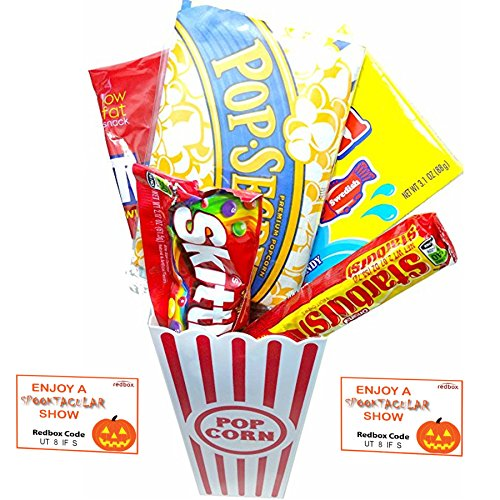 Spooktacular Movie Night Gift Basket ~ With Popcorn, Candy and 2 Free Redbox Movie Rentals (Sweedish Fish)