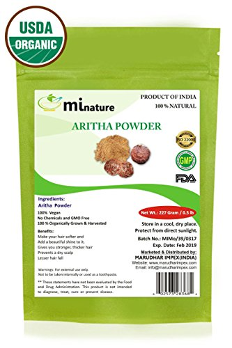 mi nature Organic Aritha Powder/Soap nut Powder(SAPINDUS MUKOROSSI)FOR SILKY HAIRS / 100% Pure, Natural and Organic - (227g / (1/2 lb) / 8 ounces) - Resealable Zip Lock Pouch