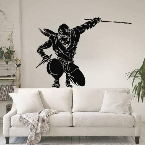 Vinyl Wall Decal Sticker Ninja Jumping Sword GFoster111A