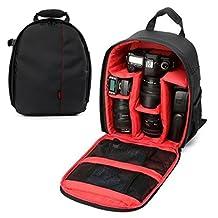YaeTek Camera Backpack Shoulder Bag DSLR Case For Canon For Nikon For Sony Waterproof, Red Inside