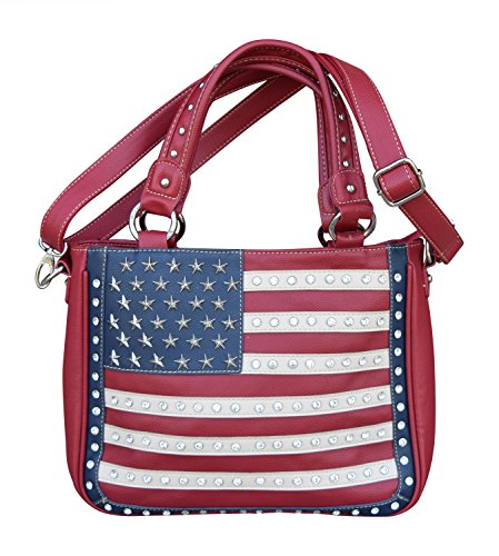Womens Concealed Carry Shoulder Purse With Red White Blue...