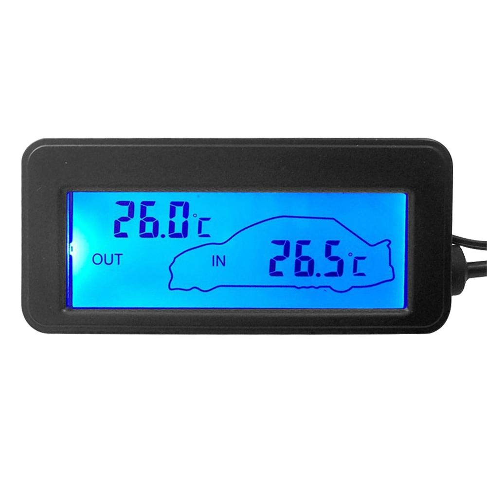 Red Light Prosperveil Car Digital Thermometer LCD Display Indoor Outdoor Temperature Meter Guage with 1.5m Sensor Cable for 12V Car Vehicles