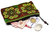 Sabai Jai Coin Purse Handmade Embroidered Bag Ethnic Boho Zipper Change Pouch,Small,Green/Brown