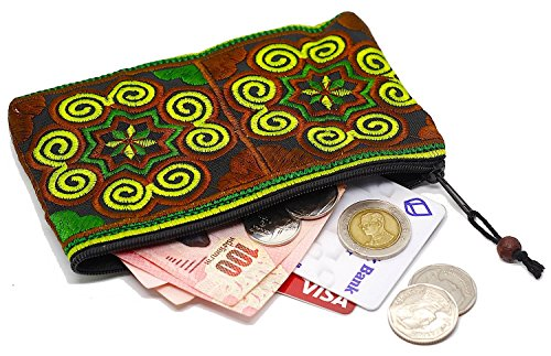 Sabai Jai Coin Purse Handmade Embroidered Bag Ethnic Boho Zipper Change ()