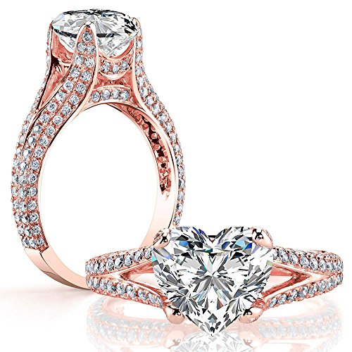 (DIAMOND MANSION Dazzling Natural Heart Cut Split Shank Micro Pave Diamond Engagement Ring - GIA Certified (Rose-Gold, 2.80))