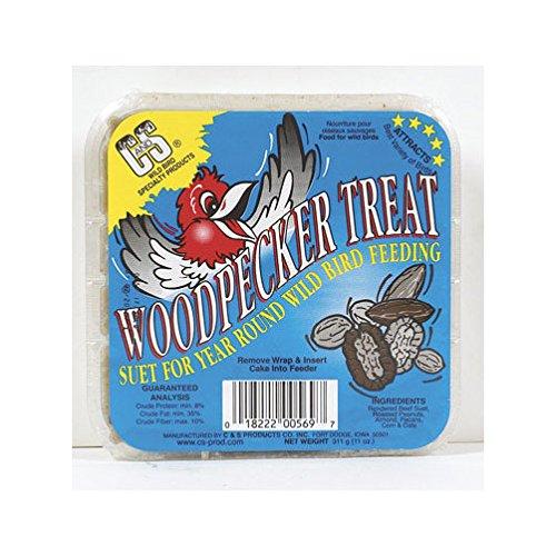 C & S Products Woodpecker Treat Beef Suet,Corn,Oats,Peanuts,Pecans 11 Oz