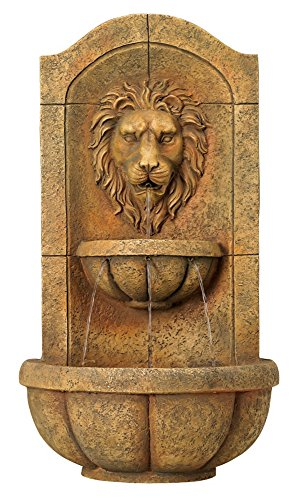 Lion Head Faux Stone 29 1/2'' High Wall Fountain by John Timberland