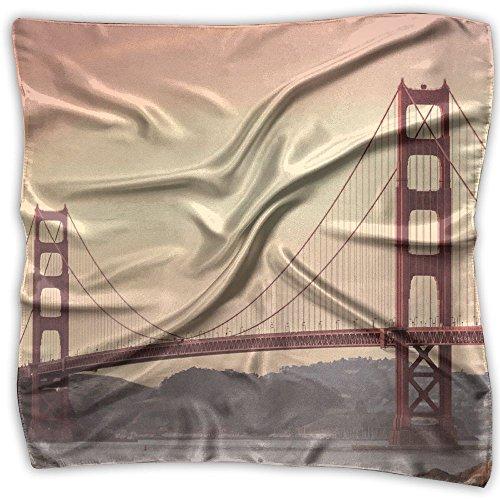 Golden Gate Bridge Tours San Francisco 100% Polyester Silk Feeling Large Square Kerchief Neck Scarf Women Headdress -