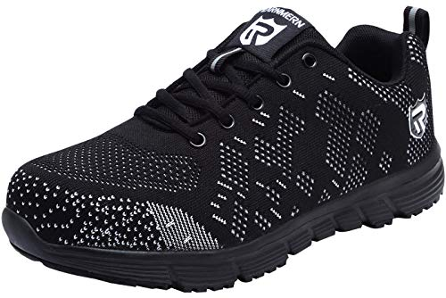 (LARNMERN Steel Toe Work Safety Shoes Men Reflective Casual Breathable Outdoor Sneakers, LM30K (10.5, Black/White/Black))