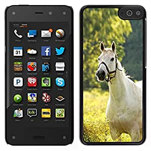 // PHONE CASE GIFT // Duro Estuche protector PC Cáscara Plástico Carcasa Funda Hard Protective Case for Amazon Fire Phone / White Horse On Field /