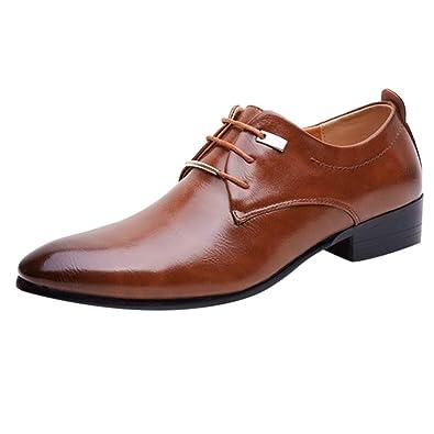3071d1b675cf OSYARD Derby Homme Cuir Marron Chaussure de Ville à Lacets en Vernis Bout  Pointue Affaires Officielles