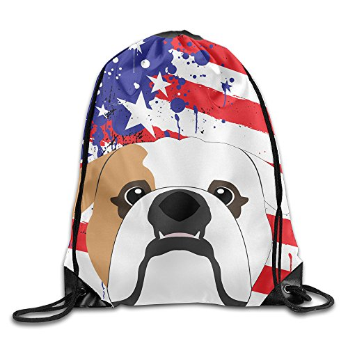 Bulldog Us Flag Print Shoulder Drawstring Backpack String Bags Outdoor Travel Handbag 17″x14″