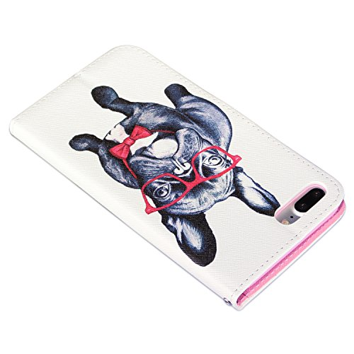 deinPhone Apple iPhone 7 Plus / iPhone 8 Plus Kunstleder Flip Hülle Tasche mit Kreditkartenfach Bookstyle Gentleman Bulldogge