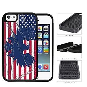 American Eagle Flag With Overspray 2-Piece Dual Layer High Impact Rubber Silicone Cell Phone Case Apple iPhone 5 5s