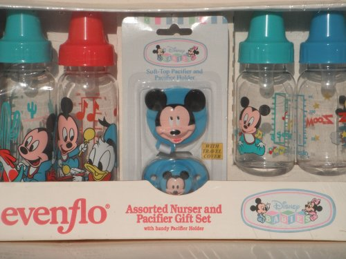 DISNEY BABIES: Assorted Nurser and Pacifier Gift Set with Handy Pacifier Holder by EVENFLO by Disney