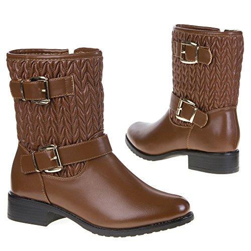 Ital-Design 466-pa botas para mujer Beige - Camel 466-PA