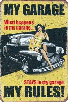 My Garage my rules Metal Sign Gewölbt New 20x30cm VS4295