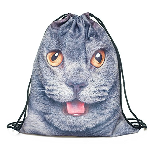 Fringoo Big Boys' Drawstring Backpack Shoulder PE Bag Printed Travel Laptop Bag One Size : High 40 Cm / Length 33 Cm British Cat