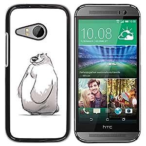 YOYOYO ( NO PARA HTC ONE M8 ) Smartphone Protección Defender Duro Negro Funda Imagen Diseño Carcasa Tapa Case Skin Cover Para HTC ONE MINI 2 M8 MINI - niños lindos de invierno blanco bosquejo del oso polar