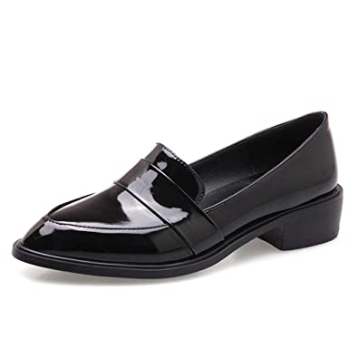ff355006147 Women s Penny Loafers Flat Low Heel Pointed Toe Patent Leather Slip On  Oxfords Loafer Dress Shoes