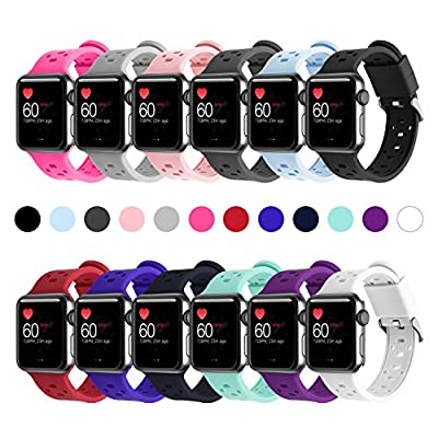 Rockvee Apple Watch Band, 38mm and 42mm Silicone Apple Watch Band and Replacement Iwatch Bands Series 3, Series 2, Series 1, Nike+, Sport, Apple Watch Edition (12-Pack, 42mm)