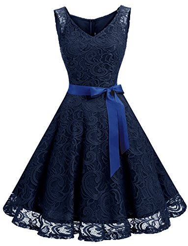 Dressystar DS0010 Women Floral Lace Bridesmaid Party Dress Short Prom Dress V Neck L Navy
