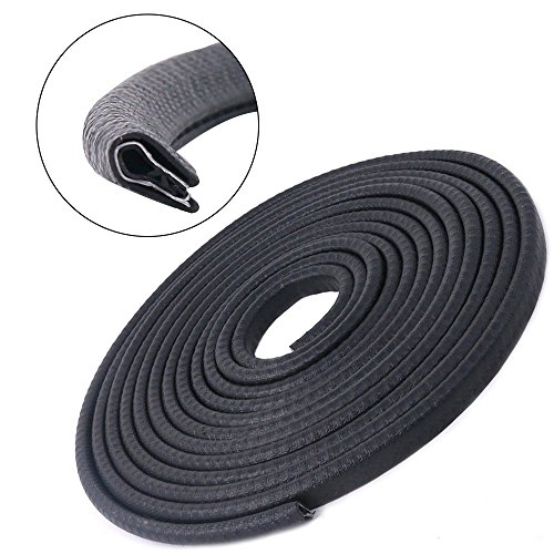 Swpeet 16Ft (5M) 12mm U Shape Universal Rubber Seal Protector Guard Strip, Car Door Edge Guards For Most Cars Metal Edges – Virtually Invisible, Durable and Cleanly Removable Design