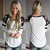 Winhurn New Stylish Women Floral Splice Long Sleeve Round Neck T Shirt Blouse (S, White)