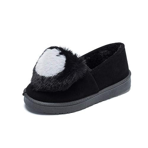 Mocasines De Mujer Zapatos De Plataforma Plana Hecho A Mano De Invierno Punta Redonda Pluma DecoracióN En Forma De CorazóN Plantilla De Felpa Calzado: ...