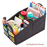 Lusso Gear Car Seat Organizer for Front or Backseat with Red Stitching Great for Adults & Kids Featuring 9 Storage Compartments for Toys, Magazines, Tissues, Maps, Books, Documents, Games & More