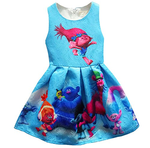 ZHBNN Little Girl Princess Cartoon Trolls Halloween Cosplay Dress up (Blue,110/3-4Y) -