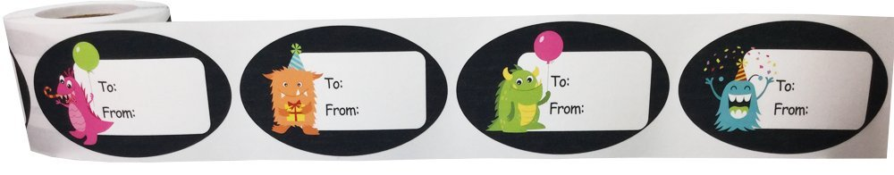 Monster Birthday Gift Tag Stickers 1 1/2 x 2 1/2 Inch 100 Adhesive Labels by InStockLabels.com (Image #2)