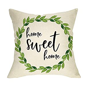 Ussap Rustic Home Sweet Home Green Olive Wreath Sign Decoration Vintage Farmhouse Decorative Throw Pillow Cover Cushion…