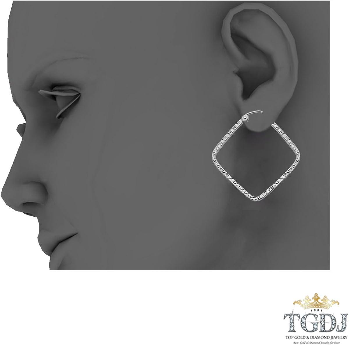 Diameter - 25mm TGDJ 14K White Gold 1.5mm Square Tube Diamond Cut Square Hoop Earrings