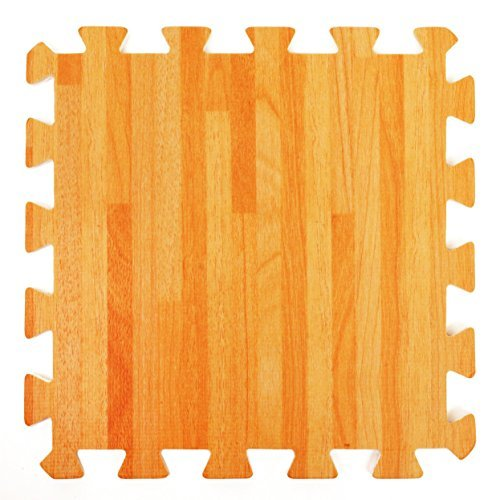 Wood Effect Interlocking Foam Mats - Perfect for Floor Protection, Garage, Exercise, Yoga, Playroom. Eva foam (9 tiles, Natural Wood Brown) by For the Love of Home Leisure