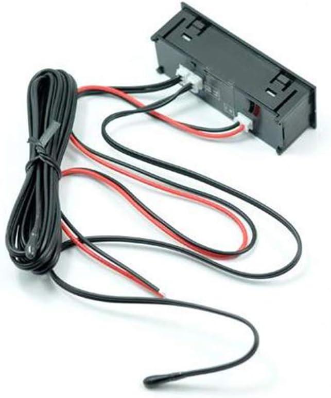 GCDN Voltmetro a LED Luminoso termometro elettronico Orologio per Auto accurato Mini Universale Portatile Multifunzione Display Digitale Accessori 3 in 1 Blu