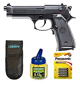 Outletdelocio. Pack Pistola airsoft electrica Beretta M92FS. Calibre 6mm. + Funda portabalines + Pilas + 1000 bolas. 23054/21993/50996