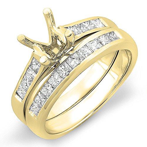 Dazzlingrock Collection 0.50 Carat (ctw) 14K Princess Diamond Semi Mount Engagement Ring Set 1/2 CT, Yellow Gold, Size 4.5 Channel Set Semi Mount Ring