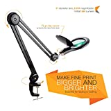Brightech Light View PRO LED Magnifying Lamp - Full Spectrum Daylight Bright Magnifier Glass Lighted Lens - Adjustable Swivel Arm Utility Clamp Light for Desk Table Task Craft or Work Bench - Black