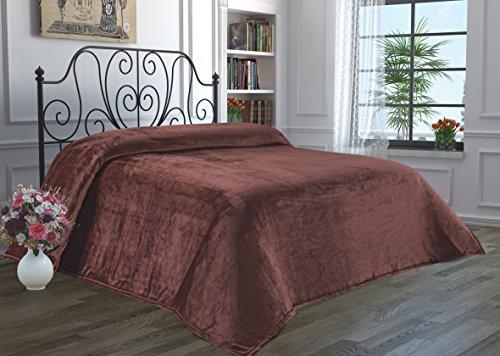 Dark Brown Plush (Super Soft Flannel Fleece Luxury Micro-fiber Cozy Plush Velvet Fuzzy Faux Fur Fluffy Lightweight Solid Scarf, Throw & Bed Blanket Queen-Mink)