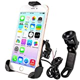 leepiya Motorcycle Phone Mount with USB Charger Port Not Cover Camera, Anti Shake with 360° Adjustable, Cell Phone Holder/Motorcycle Accessories Fix on Handlebars/Mirror for All 3.5 to 6'' Phones
